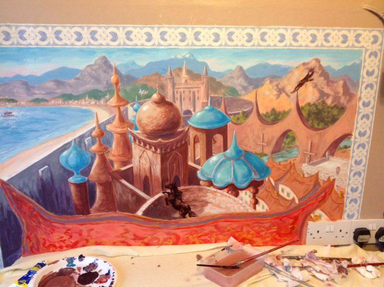 Mural of Arabian scene